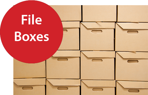 File Boxes Red Montgomery Self Storage